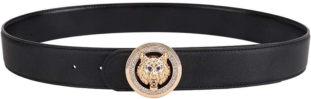 Godisdesign Mens Diamond Wolf Totem Big Buckle Design Leather Belt