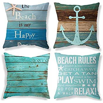 FKCDEO Throw Pillow Covers 18x18 Inch Set of 4 - Cotton Linen Blue Theme Ocean Starfish Wood Grain Beach Game Pillow Covers, Decorative Pillowcase for Home Sofa Bedding Couch Outdoor Cushion Covers.