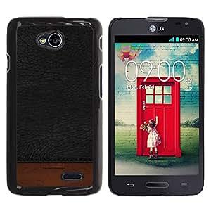 TopCaseStore / la caja del caucho duro de la cubierta de protección de la piel - Black Texture Brown Dark - LG Optimus L70 / LS620 / D325 / MS323