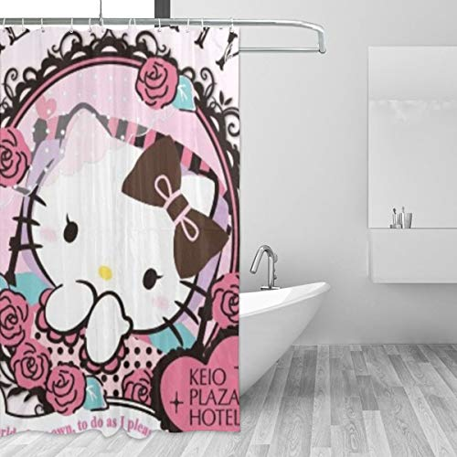WWHYH Hello Kitty Mirror Printed Shower Curtain,Polyester Fabric Bathroom Decor Set with -