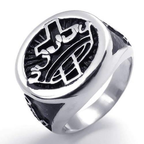 KONOV Mens Enamel Stainless Steel Cross Crown Freemason Masonic Ring, (Enamel Masonic Ring)