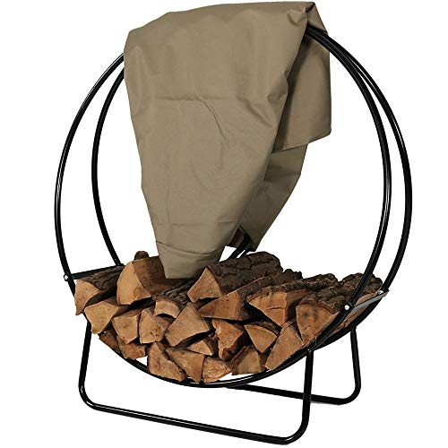 Sunnydaze Outdoor Firewood Log Hoop and Cover Set - 24-Inch Powder-Coated Steel Lumber Storage Rack and Khaki Weather-Resistant Heavy-Duty Protective PVC Cover (Storage Rack Lumber Heavy Duty)
