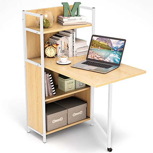 Tribesigns Folding Computer Desk with Bookshelves, PC Laptop Study Writing Desk with Storage Shelves for Small Space (Walnut) - Office Walnut Folding Table
