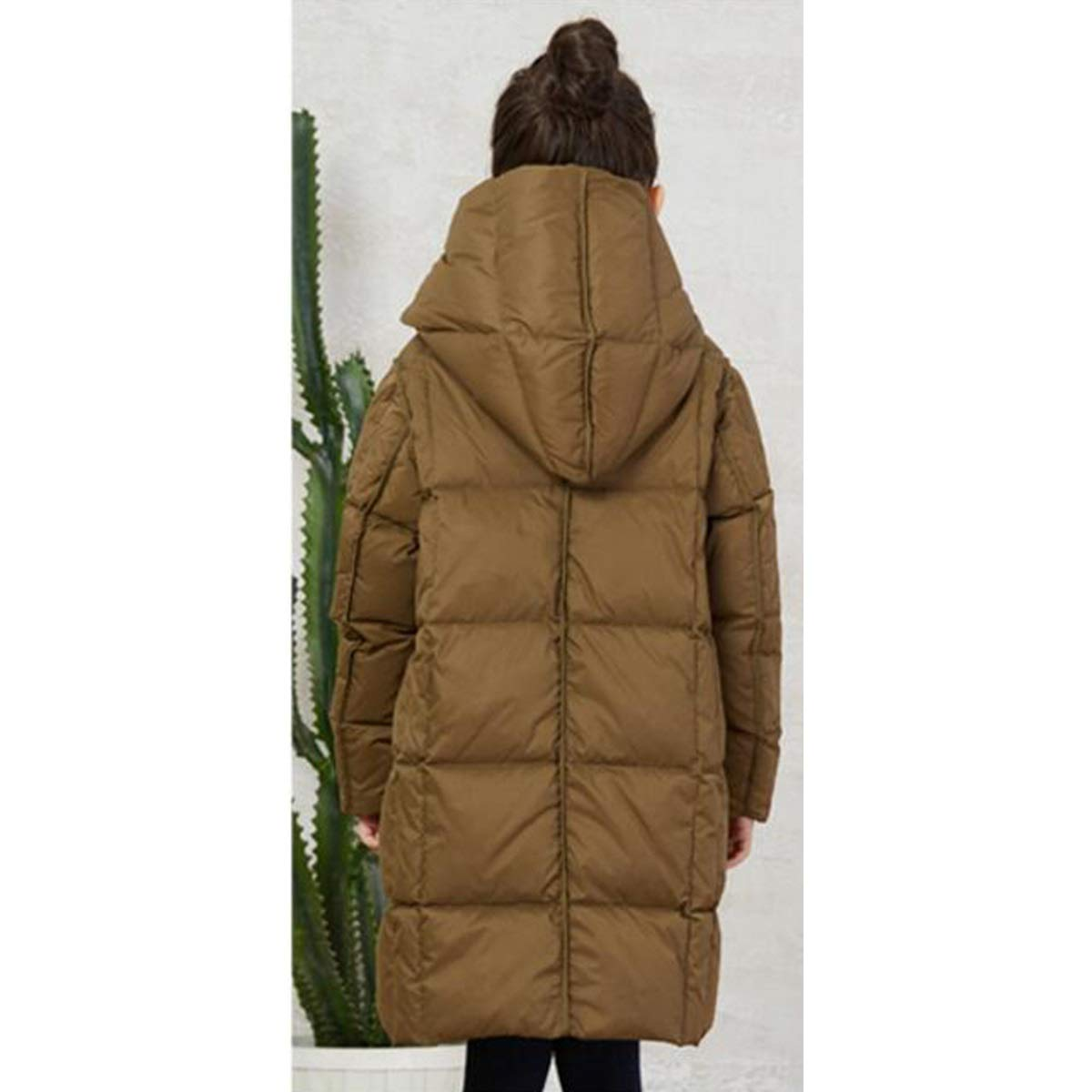 Gfsoediden Winter Long Jacket Toddler Girl Cotton Padded Hooded Coat Loose Outwear