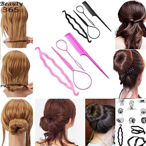 Kizaen 4Pcs Hair Braid Tool Hair Styling Accessories Kit Set Bun Maker - Hair Styling Accessories Kit Set for DIY for Styling Accessories for Girls or Women