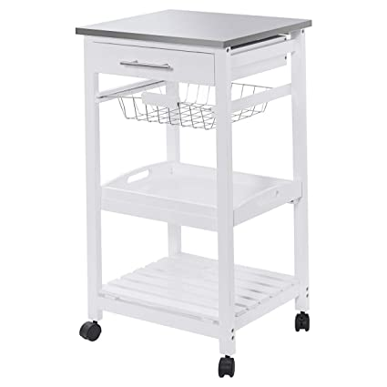 Giantex Rolling Kitchen Trolley Cart Steel Top Removable Tray W/Storage  Basket &Drawers