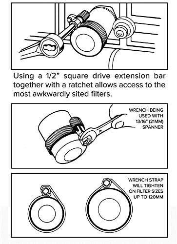 1//2 Inch Drive Antiscivolo Antiruggine Acciaio Carbonio Filtro Cinghia Chiave per Riparazione Auto Chiave Filtro Olio
