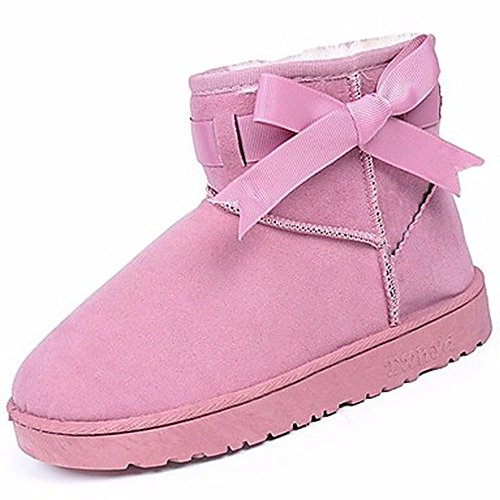 Flat Round Women'S Heel ZHUDJ Outdoor For Brown Pink Winter Snow Shoes Boots Toe Boots Gray Pink Blushing Black d8wwCqgY