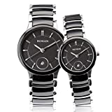BINLUN Couples Pair Black Ceramic Watch His and Hers Gifts Watches for Women and Men 2pcs/ set
