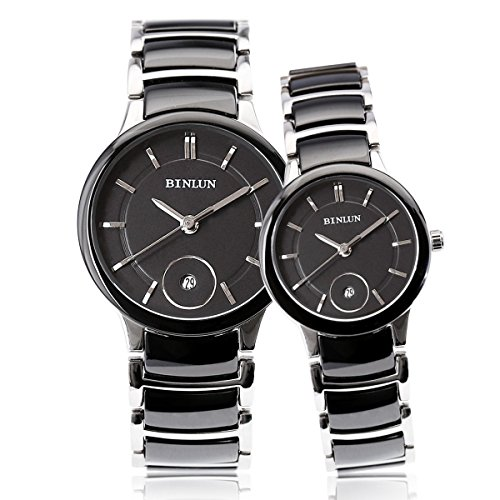 BINLUN Couples Pair Black Ceramic Watch His and Hers Gifts Watches for Women and Men 2pcs/ set by BINLUN