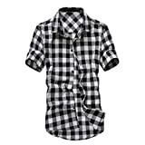 LISTHA Plaid Shirts Mens Short Sleeve Casual Button Tops Stand Collar Blouse