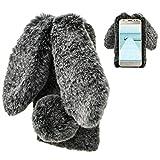 LCHDA Samsung Galaxy J7 2018 Rabbit Case,Samsung Galaxy J7 2018 Rabbit Fur Case Bunny Ear Phone Case for Girls Fuzzy Cute Warm Winter Soft Furry Fluffy Ball Fur Hair Plush Protective Cover-Black