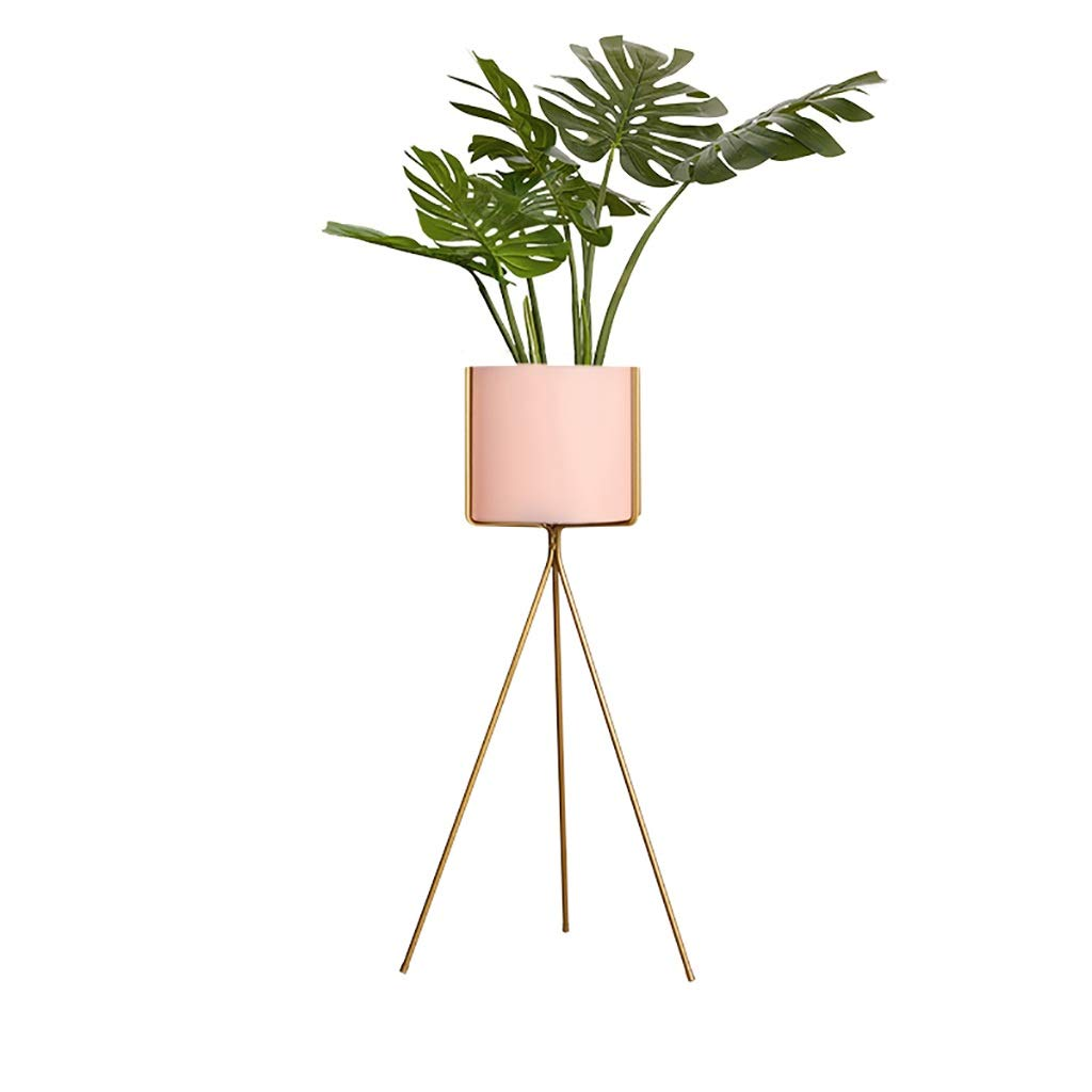 NDD Nordic Flower Stand Black Metal Plant Stand - Indoor Outdoor Home Decor Terrace Flower Stand (Color : Pink, Size : 2080cm)