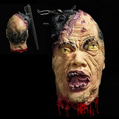 Hootech Halloween Decorations Severed Head Cut off Corpse Head Prop Hanging Bloody Gory Latex Zombie Party Supplies