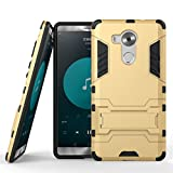 HUAWEI Mate 8 Case, SATURCASE Hybrid 2 In 1 [PC & Silicone] Dual-Layer Bumper Case Cover with Kickstand for HUAWEI Mate 8 Gold