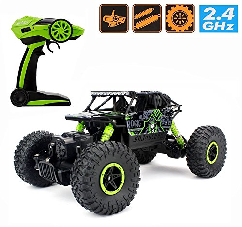 2.4Ghz 1/18 RC Rock Crawler Vehicle Car 4 WD High Speed Remote Control Monster Off Road Truck RTR (Green) (Waterproof Trucks Rc Cheap)