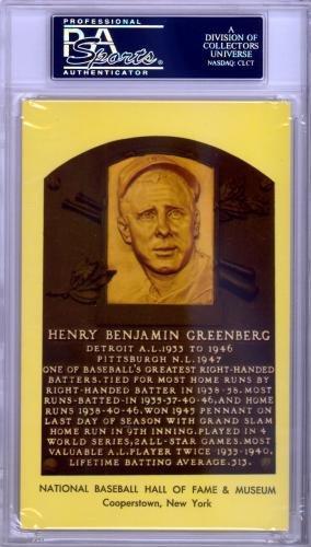 Hank Greenberg Autographed Signed HOF Plaque Postcard Tigers #83963822 PSA/DNA Certified MLB Cut Signatures