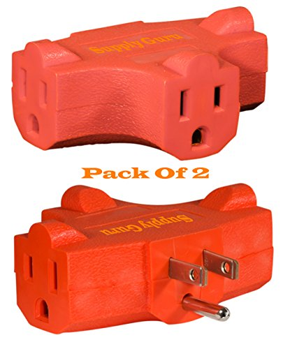 3-Outlet Tap Extender, Heavy Duty Triangle Tap, T-shaped Adapter, Grounded, AC Power,125 Volt, ETL Listed, Orange, (2- Pack).