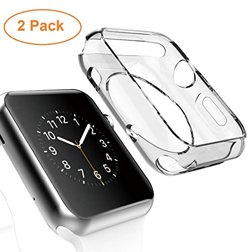 Apple Watch Case, [2pack] Wolait Clear Soft TPU Frame Case Without Screen Protector for Apple Watch Series 2 Series 1- 42mm