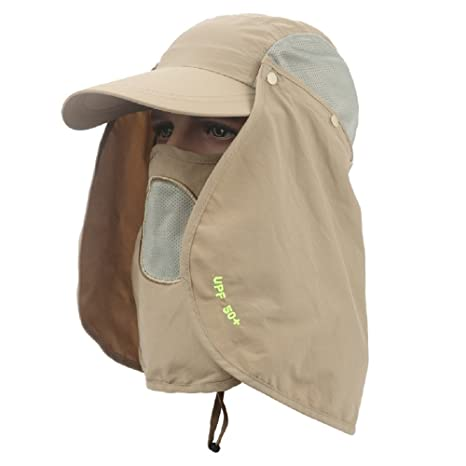 Khaki Outdoor UPF 50 Protection Wide Visor Fishing Hat Breathable Quickly Dry Sun cap with Removable Sun Shield Mask