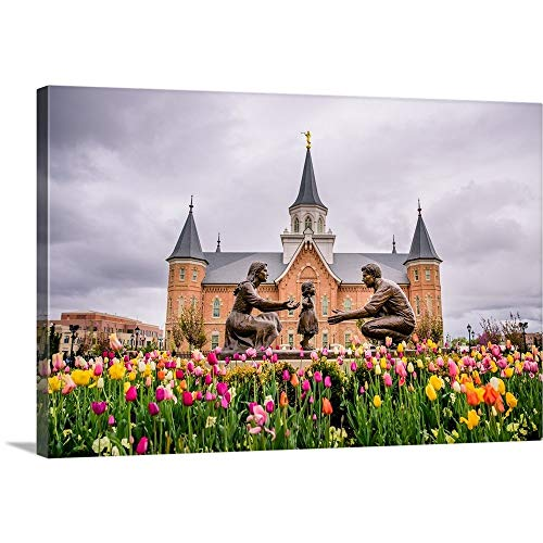 Provo City Center Temple, Family Statue in The Springtime, Provo, Utah Canvas Wall Art Print, 3.
