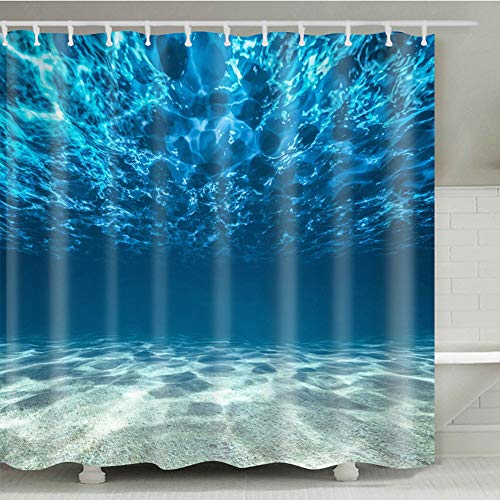 LYWYGG 72 X 72 Inch Bathroom Decor Ocean Shower Curtain Blue Sea Bottom Shower Curtains Undersea Water and Wave Shower Curtains - Waterproof Fabric Polyester 974-M ()