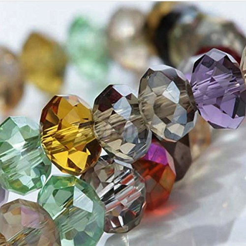 Quality Beads Glass - HYBEADS 72-1-29 100per Assorted China Top AAA Quality 5040 Assorted Crystal Beads 4mm 6mm 8mm 10mm Faced Glass Beads Crystal Rondelles Beads (8mm)