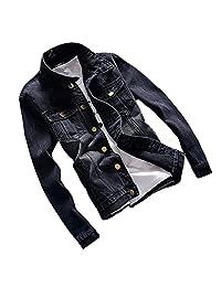 Dasior Men's Black Slim Fit Washed Denim Jean Coat Bomber Jacket