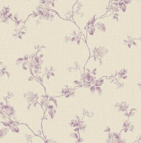Wallpaper Designer French Country Lavender Rose Floral Vine Toile on Beige Faux Linen