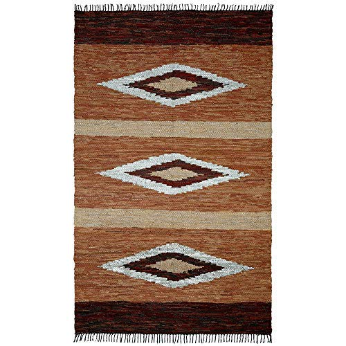 Matador Diamonds Leather Chindi Rug, 5 by 8-Feet, Brown