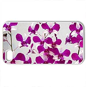 Pretty orchids - Case Cover for iPhone 4 and 4s (Flowers Series, Watercolor style, White)