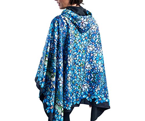 RainCaper Rain Poncho for Women - Reversible Rainproof Hooded Cape (Fine Art- Tiffany Clematis) -