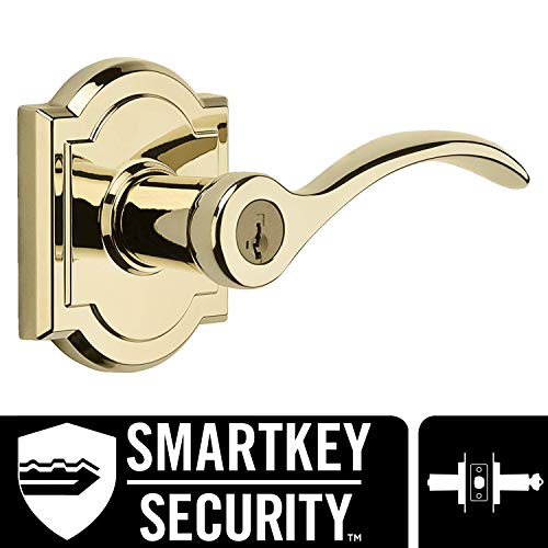 Baldwin Prestige Tobin Entry Lever featuring SmartKey in Lifetime Polished Brass