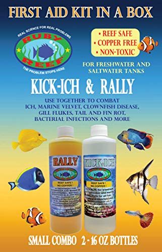 Ruby Reef ARR11161 Kich-Ich and Rally Aquarium Combo Pack Water Treatment , 16-Ounce
