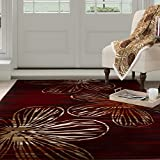 Cheap Lavish Home Opus Modern Floral Area Rug, 8 x 10′, Burgundy