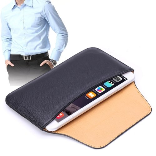 DFV mobile - Belt clip holster horizontal ultra thin synthetic leather premium for =>      Apple iPhone 5s > Black