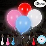40 Pack LED Light Up Balloons Mixed Color Flashing Party Balloons Lights Lasts 12-24 Hours, Ideal for Kids Party Birthdays and Wedding Decorations, Fallible with Helium, Air