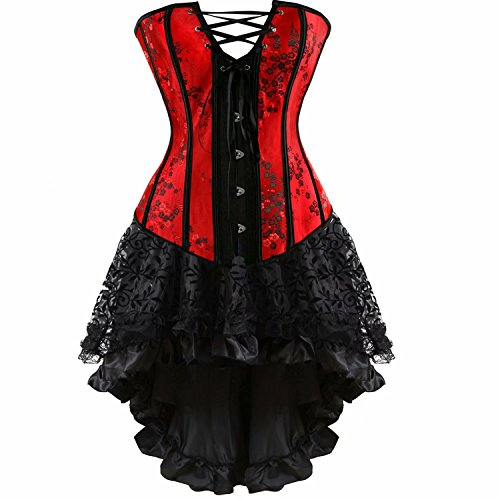 Corset Dresses Bustier Skirt Set Lace Embroidery Halloween Women Medieval Masquerade Moulin Rouge Red M -