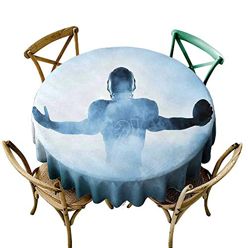 Round Tablecloth for Wedding Black Sport,Heroic Shaped Rugby Player Silhouette Shadow Standing in Fog Playground Global Sports Photo,Blue D54,for Accent Table