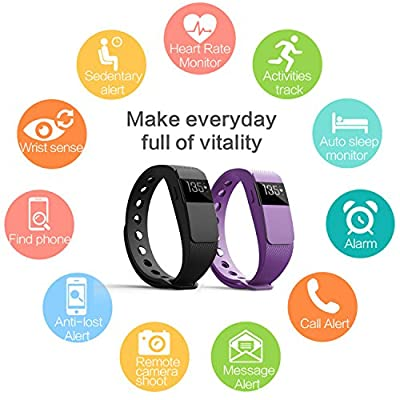 Heart Rate Monitor Fitness Trackers,007plus Bluetooth 4.0 Pedometers Sleep Monitor Activity Trackers for Android iOS Smartphone