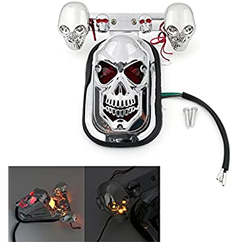 Silver Candance DLLL Motorcycle LED Skull Integrated Rear Tail Light Side Mount Plate for Harley Honda Suzuki Kawasaki Yamaha Classic Bikes