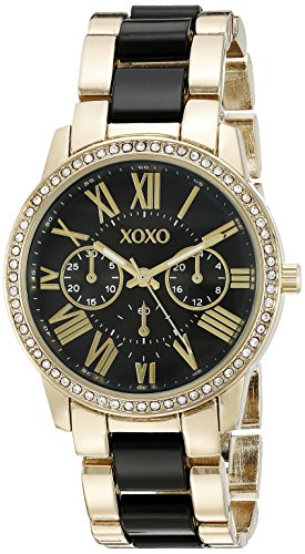 XOXO Women's XO5874 Gold-Tone and Black Bracelet Watch (Womens Large Faced Watches)