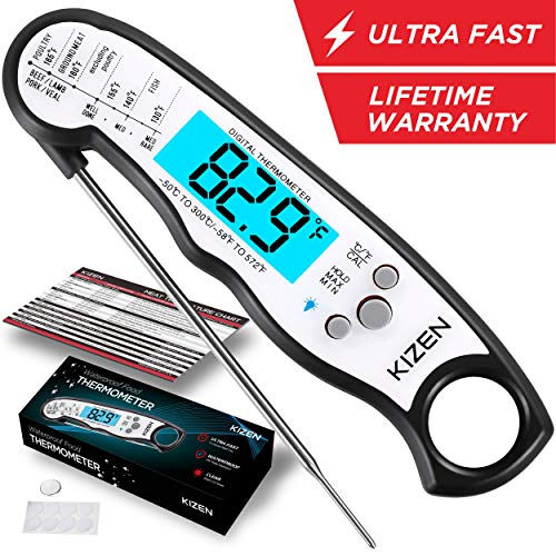 Kizen Instant Read Meat Thermometer - Best Waterproof Ultra Fast Thermometer with Backlight & Calibration. Kizen Digital Food Thermometer for Kitchen, Outdoor Cooking, BBQ, and Grill! (Pocket Stainless Thermometers Steel)