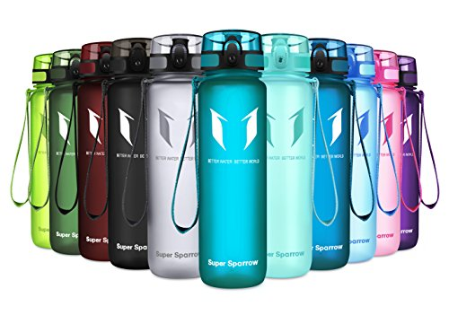 (Super Sparrow Sports Water Bottle - 350ml-500ml-1000ml - Non-Toxic BPA Free & Eco-Friendly Tritan Co-Polyester Plastic - Fast Water Flow, Flip Top, Opens with 1-Click - (Sea Glass, 1500ml-50oz))