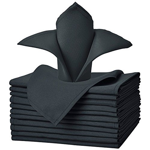 VEEYOO Cloth Napkins Set of 12 Pieces Solid Polyester Napkins Soft Fabric Washable and Reusable Dinner Napkin for Banquet Wedding Restaurant (Dark Gray, 20x20)