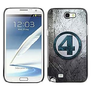 TopCaseStore / la caja del caucho duro de la cubierta de protección de la piel - 4 Number Grey Tv Blue - Samsung Galaxy Note 2 N7100