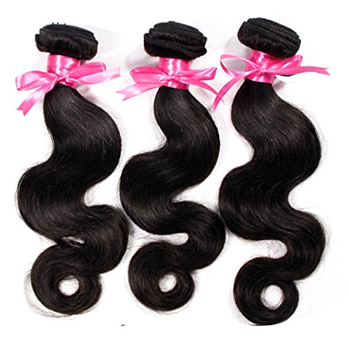 10~28 Inches Peruvian Virgin Hair Body Wave 100 Human Hair Extension,Total 300g(100g/Bundle),Pack of 3,Natural Black,7A Unprocessed Virgin Hair Weave 3 Bundles(12 14 16)