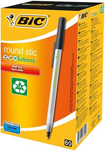 BIC Kugelschreiber ECOlutions Round Stic, 0.4 mm, Schachtel à 60 Stück,  schwarz