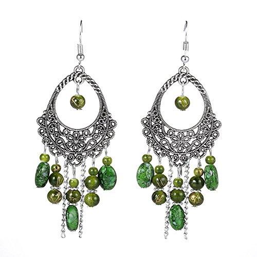 Beaded Drop Dangle Earrings,Antique Ethnic Bohemian Tassel Chandelier Earrings for Women (Dangling Chandelier Earrings)