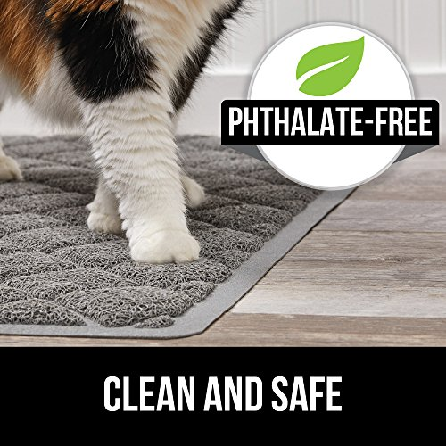 Large Product Image of Gorilla Grip Original Premium Durable Cat Litter Mat (35x23), XL Jumbo, No Phthalate, Water Resistant, Traps Litter from Box and Cats, Scatter Control, Soft on Kitty Paws, Easy Clean (Gray)
